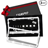 Tchipie 2 Pack Bling Rhinestone License Plate Frames for Women Girl, Bedazzled Sparkly Cute Diamond Car License Plate Frame,