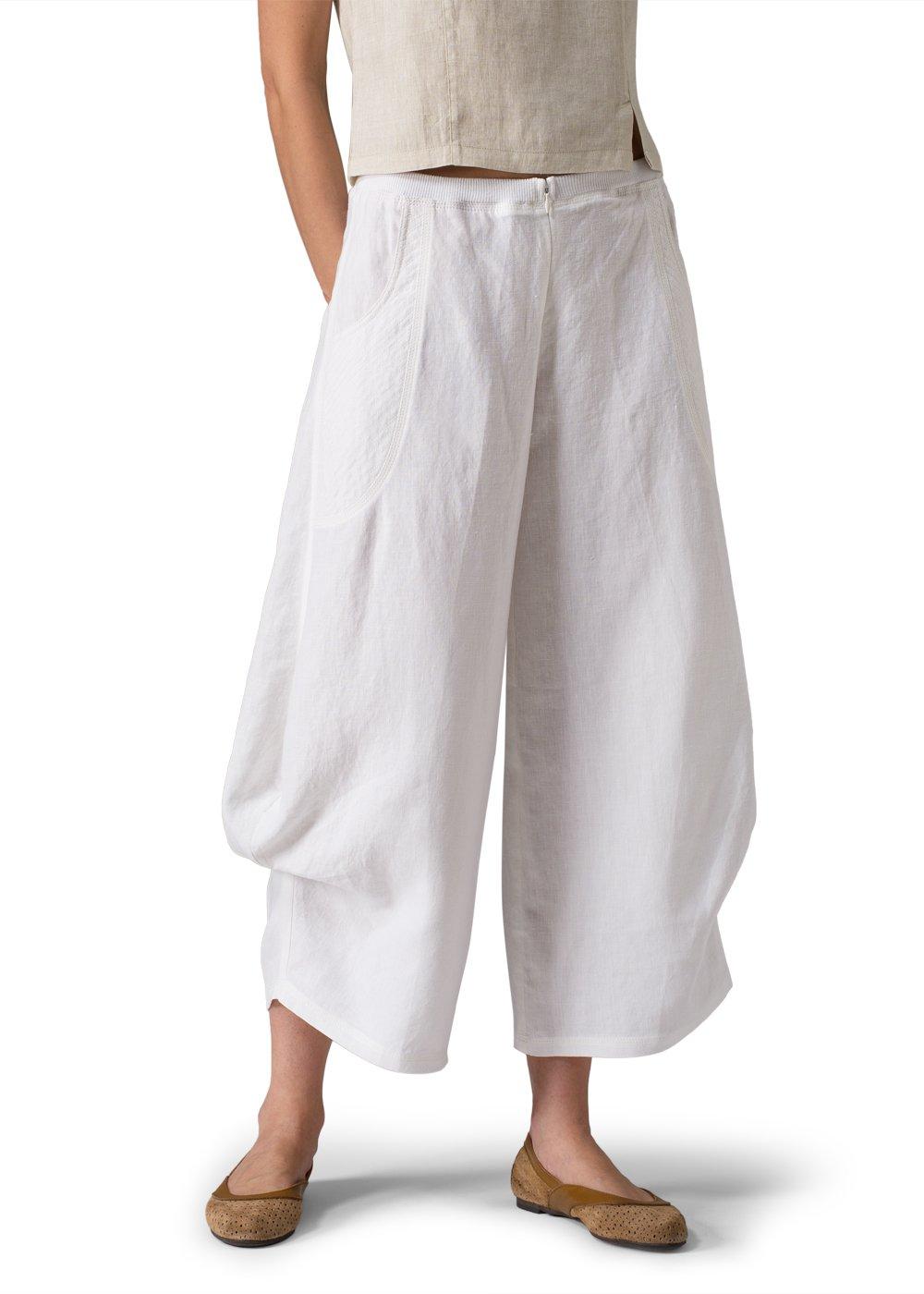 Vivid Linen Flared Leg Crop Pants-16W-White