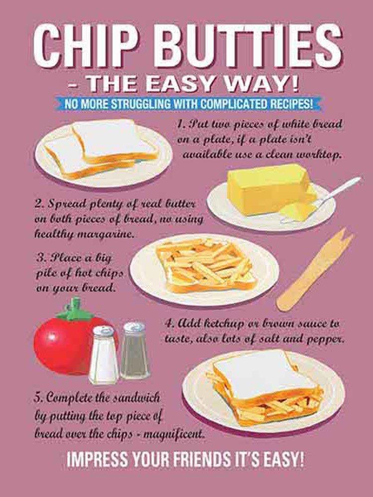 Cuisine Chip butties Cocina Cartel de chapa FUN Receta de ...