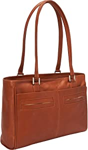 Piel Leather Ladies Laptop Tote with Pockets, Saddle, One Size