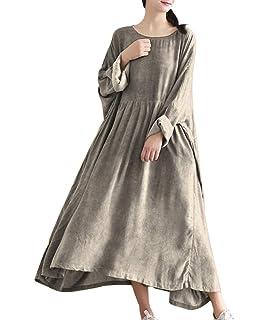 5b7801150e YESNO TA7 Women Casual Maxi Caftan Dress Plus Size Large Loose Gathered  Skirt Oil Dyed Long