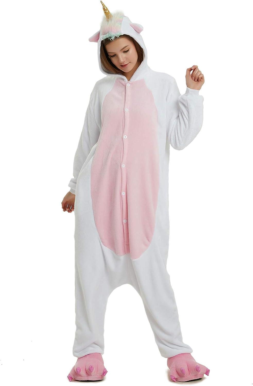 Hycomell Unicornio Pijamas de una Pieza Unisexo Adulto Niños Tela de Franela Estilo de Dibujos Animados Camisones Ropa de Dormir Halloween Cosplay Carnaval Navidad