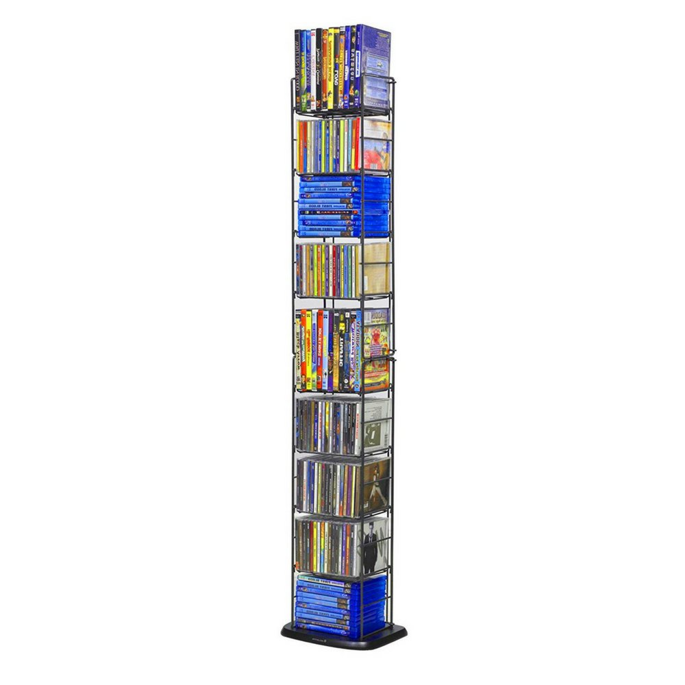 CD Storage Rack Tower Black Metal DVD Storage Slim Media 8-Tier Organizer Stand Holder Adjustable Shelves Folding Standalone with Base or Wall Mount Organizer Unit Multimedia Steel & eBook BADA shop by BS