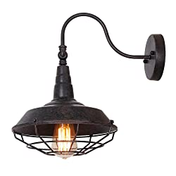 Eumyviv W0013 1-Light Industrial Metal Wall Sconces with Metal Shade Retro Rustic Loft Antique Wall Lamp Edison Vintage Decorative Wall Light Fixtures Lighting Luminaire