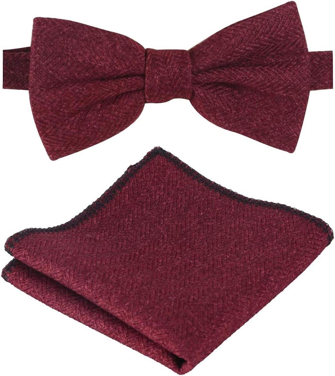 Boys Herringbone Tweed Wedding Dickie Bow Tie /& Handkerchief Set in Burgundy