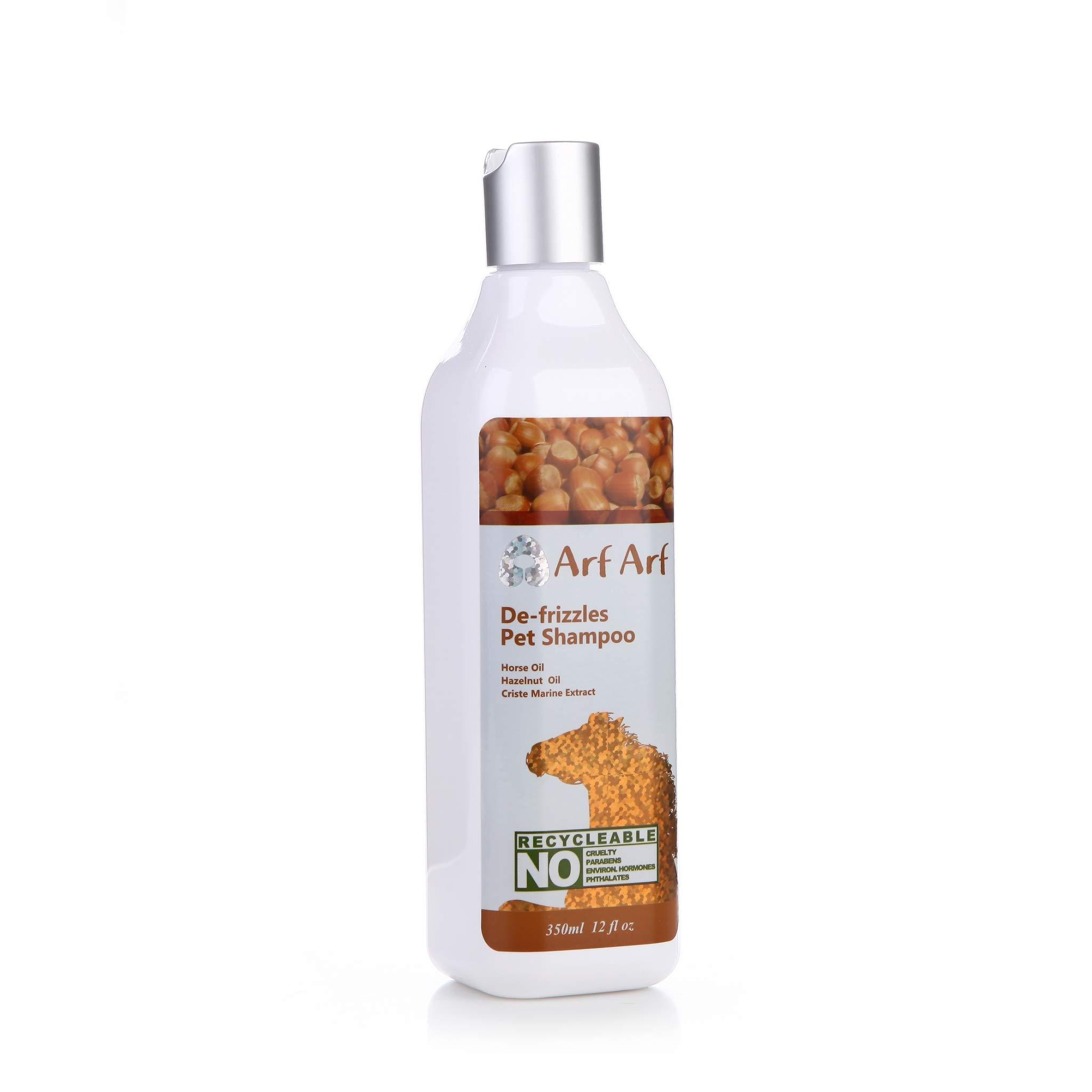 Arf Arf De-frizzles Pet Shampoo (For All Dogs & Cats) -Horse Oil, Hazelnut Oil, Criste Marine Extract, 13 Oz