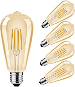 Vintage LED Edison Bulbs ST19 8W Dimmable LED Filament Light Bulb 80 Watt Equivalent 800 Lumen Warm White 2200K Antique E26 Medium Base for Home,Cafe,Office Amber Glass/4 Pack