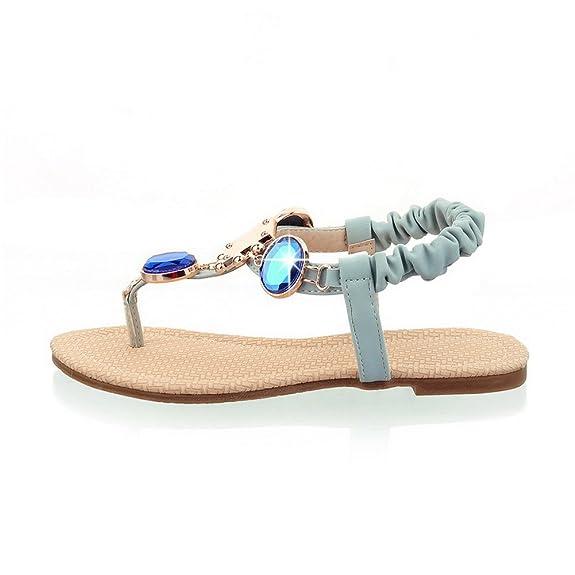 AllhqFashion Damen Weiches Material Getrennt Zehe Ohne Absatz Elastic Band Eingelegt Zehentrenner Sandalen, Blau, 37