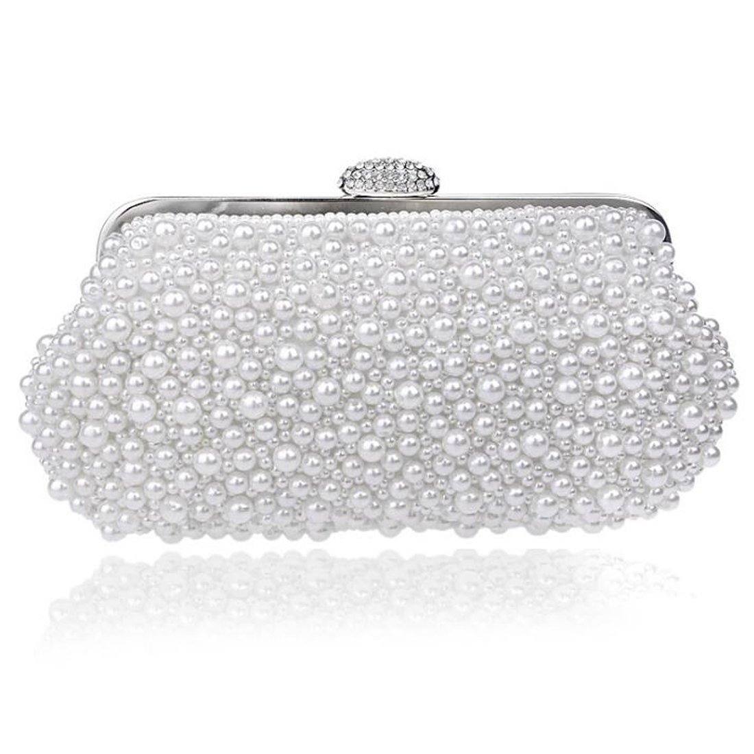 EPLAZA Women Pearl Beaded Evening Clutch Handbags Wedding Party Bags Purse (white)