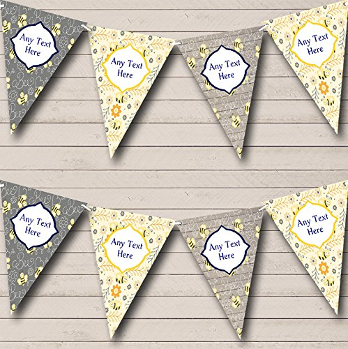 Bumble Bunting Bee - Bumble Bee Grey Yellow Personalized Children's Birthday Party Bunting Banner