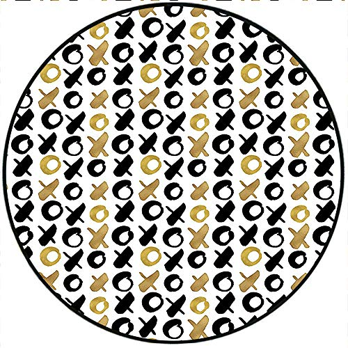 (Short Plush Round Rugs Digital XOXO Nought and Crosses Love Valentines Pattern in Gold Black Bedroom/Living Room Kids Play 15.7
