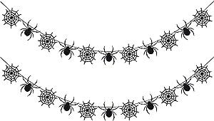 2Pcs Black Glittery Spiderweb Garland- Halloween Party Decorations,Halloween Spider Decor,Hanging Spider Web Banner Decor,Halloween Garland