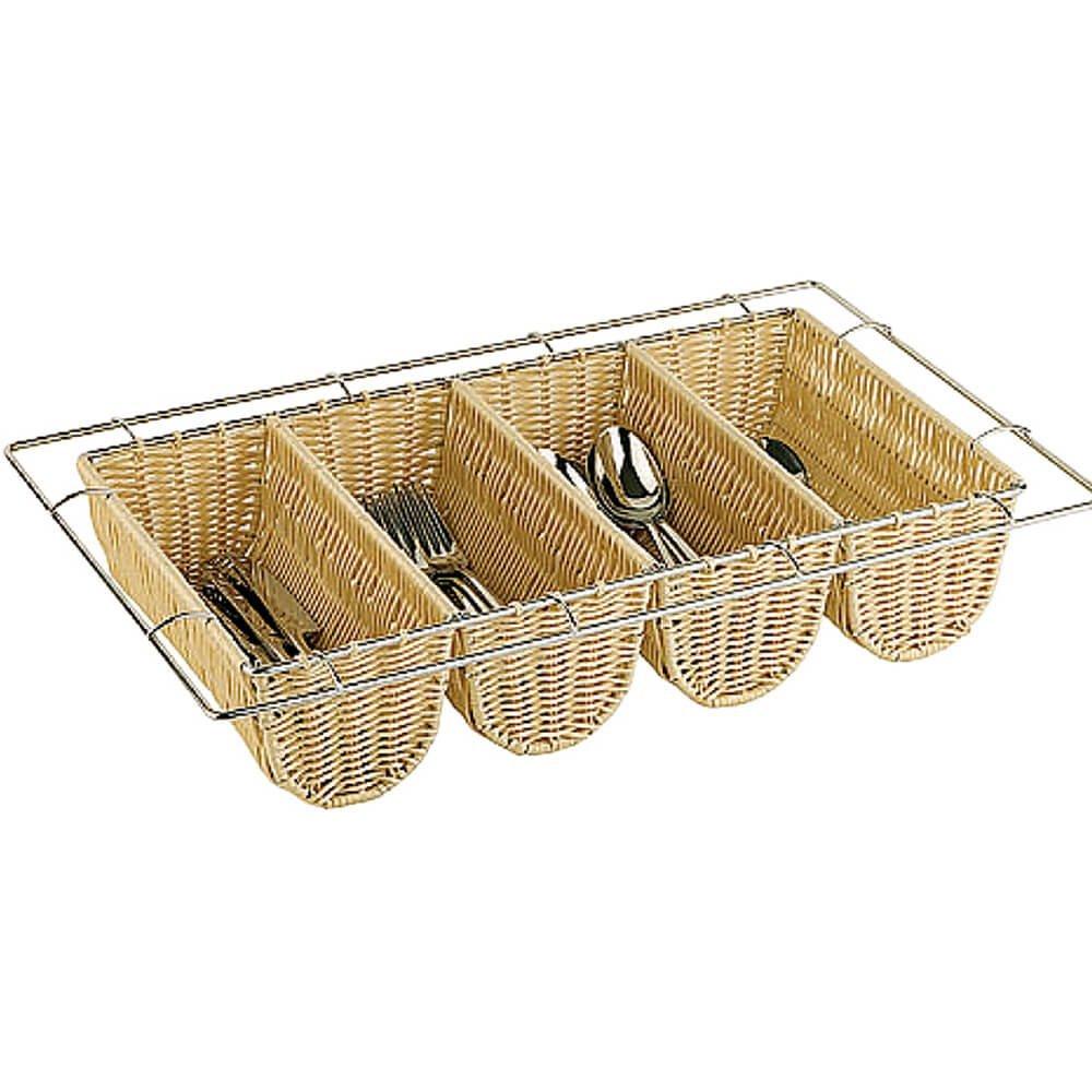 Paderno World Cuisine Polyrattan Four Compartment Condiment/Silverware Basket, 1/1 GN Light Wood Tone 42584-04