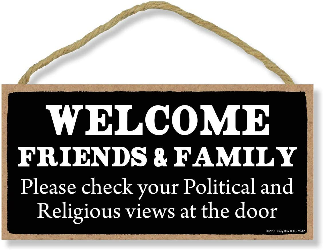 Welcome Friends and Family - 5 x 10 inch Hanging Welcome Wall Decor, Wall Art, Decorative Wood Sign Home Decor, Funny Welcome Signs