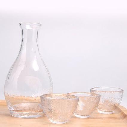 AMCER Set de 4 Botellas de Vidrio para Vino, Jarra de Sake Japonesa y 4