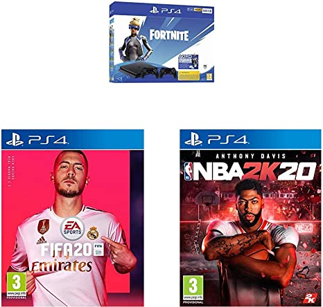 Playstation 4 (PS4) - Consola 500 Gb + 2 Mandos Dual Shock 4 + Contenido Fortnite (Edición Exclusiva Amazon) + FIFA 20 - Edición Estándar + NBA 2k20: Amazon.es: Videojuegos