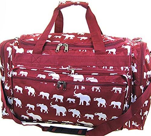 19 Inch Elephant Print Duffel Bag Alabama Roll Tide Bama Burgundy Red Duffle