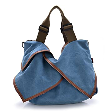 a20794da8857 Amazon.com  DRF Women s Hobo Bag Canvas Tote Bag Shopper Large Capacity  BG135 (Blue)  Ategazza-US