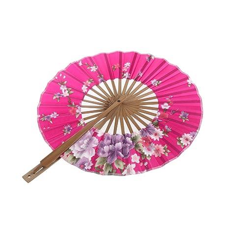 8 Pulgadas Ventilador del Mano Seda de Flor Superficie Abanico Plegable Bambú Monedero Molino de Viento - Rosado