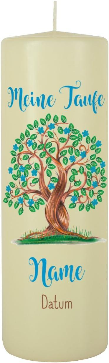 Gratis Beschriftung 250//80mm Brenndauer ca 120 h Blanche Wei/ß Striefchen/® Taufkerze f/ür Jungen Motiv: Baum des Lebens inkl