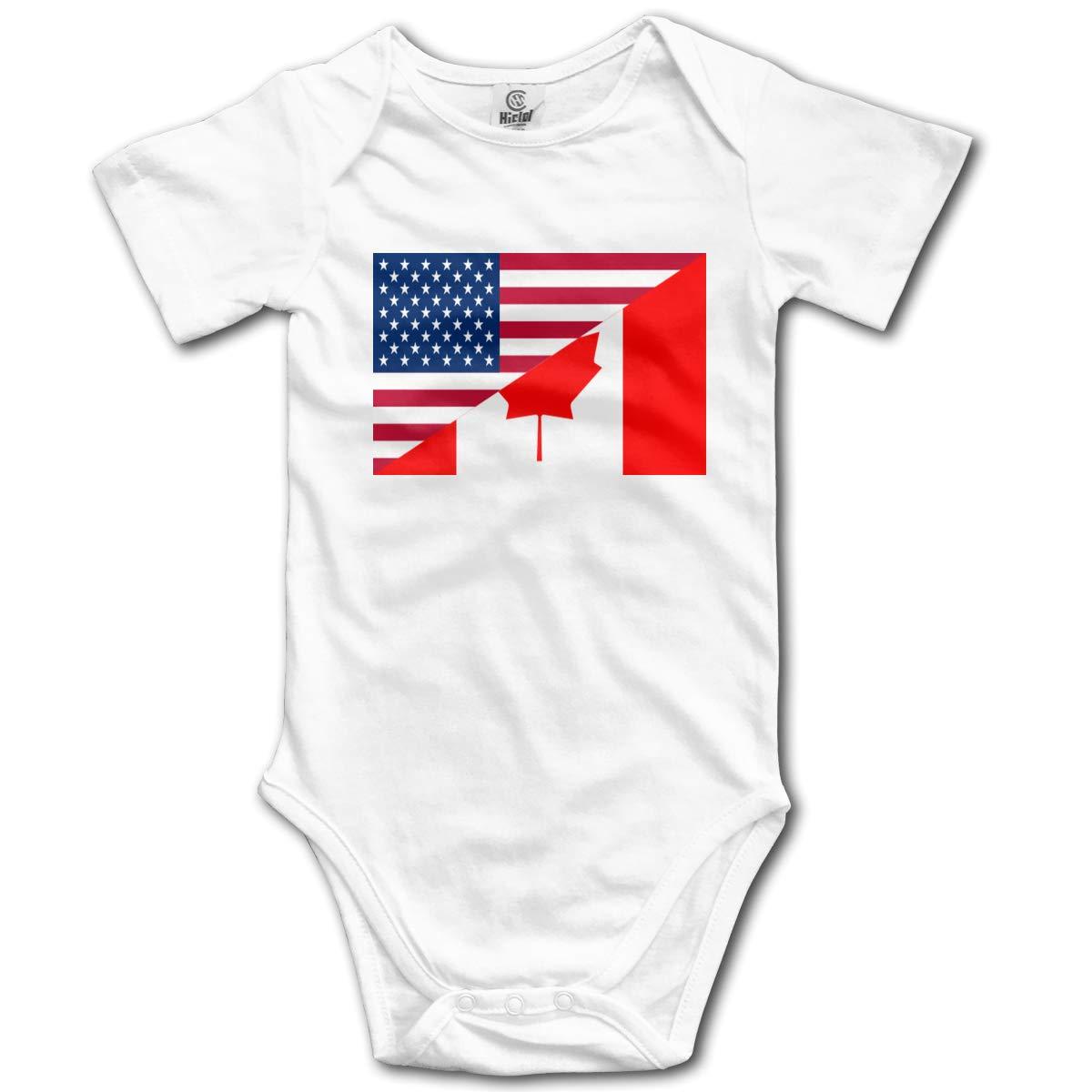 American and Canada Flag Newborn Infant Toddler Baby Girls Boys Bodysuit Short Sleeve 0-24 MonthsBlack