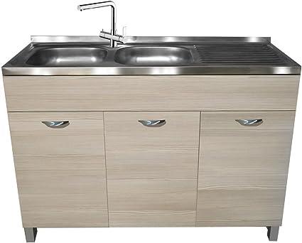 Divina Home - Mueble tipo armario bajo fregadero, 3 puertas, 120 x 50 x 83 (alt.) cm, olmo gris, mueble de cocina - DH55418