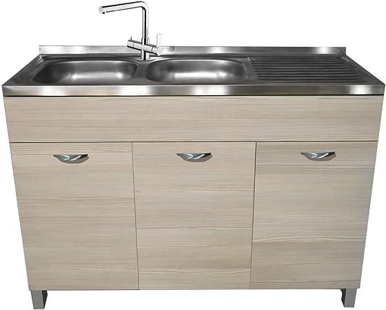 Divina Home Dh55418 Meuble Sous Evier 3 Portes 120 X 50 X H 83 Cm Finition Orme Gris Amazon Fr Cuisine Maison