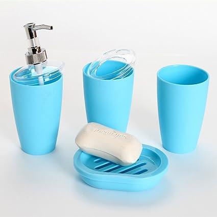 ZHANGYONG*4pc elegante baño Wc Accesorios de plástico conjunto dispensador de jabón taza wc Cepillo