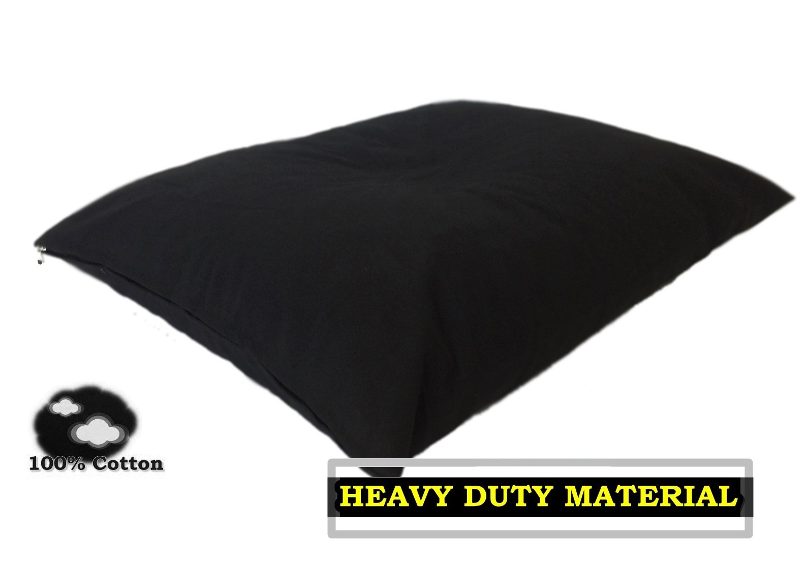 Durable Comfort Micro-cushion Memory Foam Pet Dog Pillow Bed with Waterproof Liner + External Cover for S,M,L Dogs- Complete Set (Black Canvas, 47''x29'')