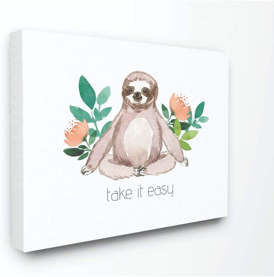 Stupell Industries Take It Easy Peach Floral Sloth Watercolor Canvas Wall Art, 24 x 30, Design by Artist Elise Engh