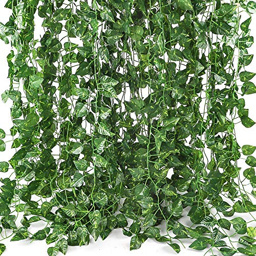- CEWOR Artificial Greenery Artificial Vines Fake Ivy Leaves for Home Wedding Garden Swing Frame Decoration (C-24pcs)