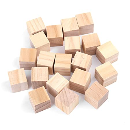 Wood Cubes Natural Unfinished Wooden Blocks Craft Small Wood