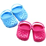 Hot Pink & Blue Polliwog Doll Shoes Set, Fits For 18 Inch Girl Dolls Beach Sandals Slippers Shoes