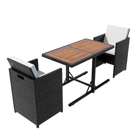 Set Tavolo E Sedie.Vidaxl Set Tavolo E Sedie Da Giardino 7x In Polyattan Nero Tavolino Seggiole