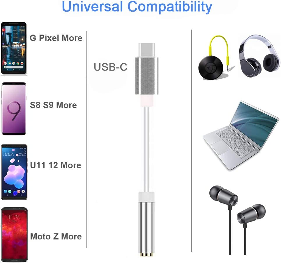 Fukep USB C to 3.5mm Audio Adapter Black Huawei Mate 10//P20 Pro,Samsung note10//10+ and More USB C Devices USB Type C to 3.5mm Headphone Jack Adapter Compatible with Pixel 4//3//2//4XL//3XL//2XL