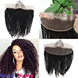 Rossy&Nancy 10A Brazilian Virgin Remy Human Hair 13×4″ Afro Kinky Curly Lace Frontal Closure Free Part Naturak Black Color with Baby Hair Bleached Knots for American Black Women 8-22inch For Sale