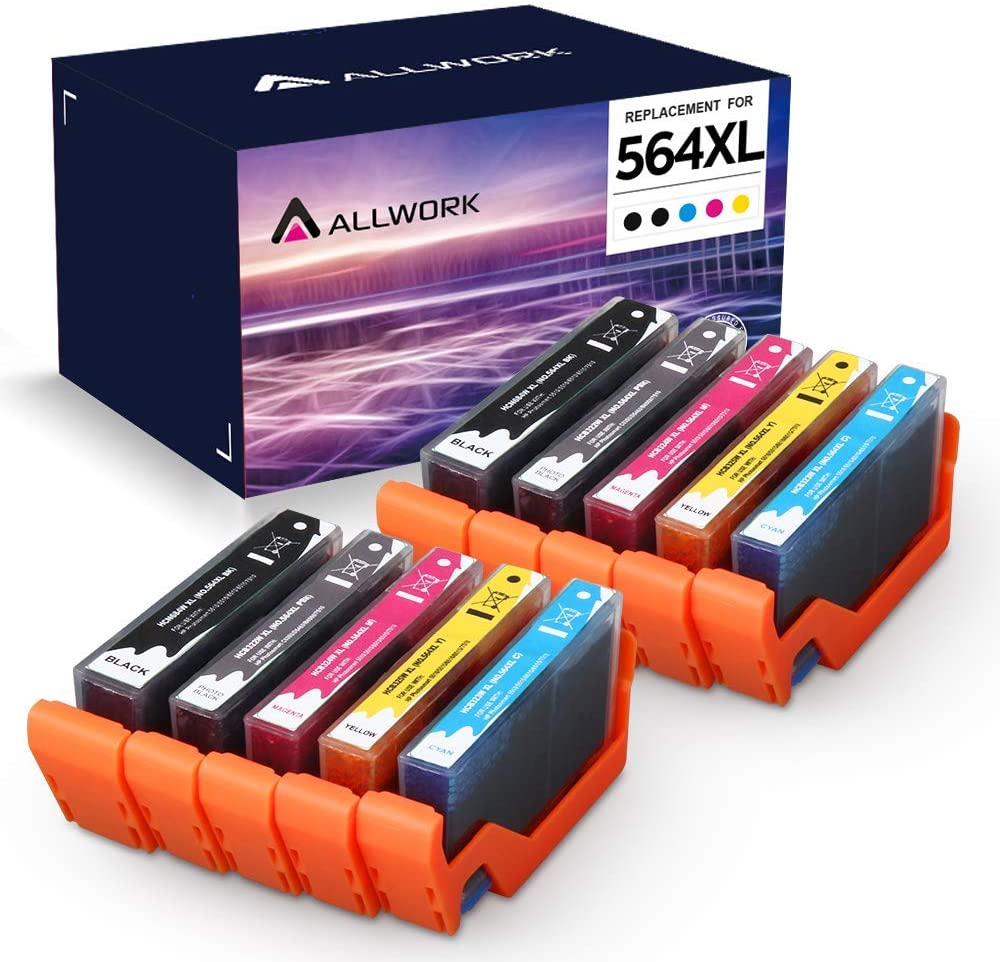 ALLWORK Compatible 564 XL Ink Cartridge Replacement for HP 564XL Combo Pack for HP Photosmart 7520 7510 7525 6515 6510 5520 5510 5514 4620 3520 D7560 B8550 B209a C410 C6380 10-Pack (2K/2PBK/2C/2M/2Y)