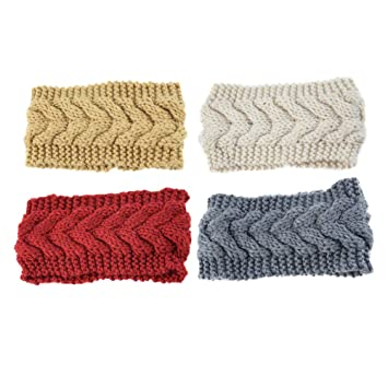 4 Pcs Crochet Turban Headband Warm Bulky Crocheted Head Wrap Soft