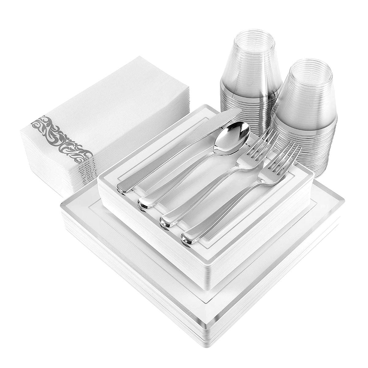 200 Piece Disposable Dinnerware Set for Weddings, Parties and Holidays: 25 Dinner Plates, 25 Dessert Plates, 25 Cups, 50 Forks, 25 Spoons, 25 Knives, 25 Guest Towels (Silver Square)