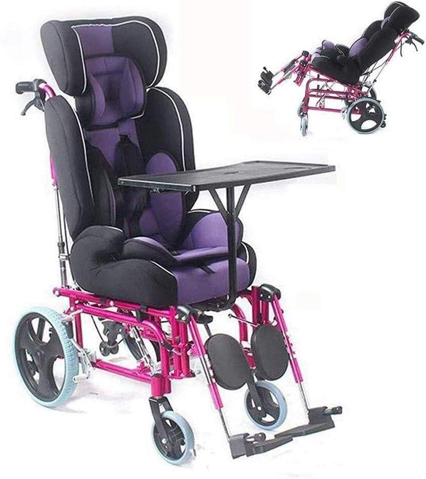 Strele Infantil Silla de Ruedas Plegable, Asiento de Seguridad, Ajuste Amortiguador Integrado, parálisis Cerebral Infantil de sillas de Ruedas, adecuados para 2-12 años de Edad