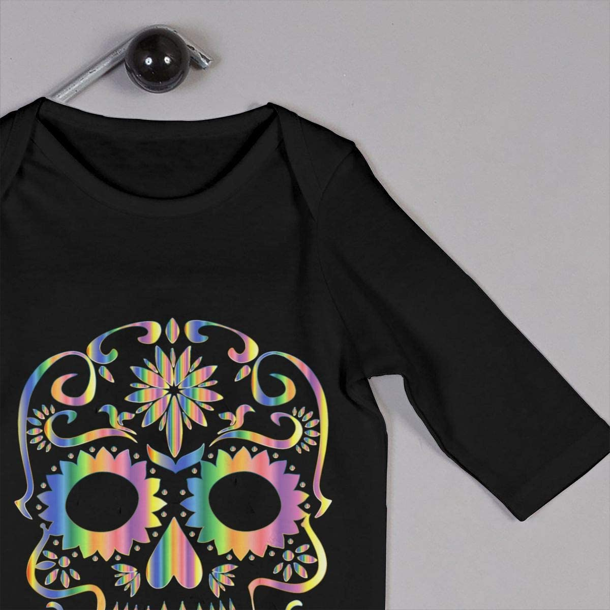 Psychedelic Sugar Skull Silhouette Printed Newborn Infant Baby Boy Girl Bodysuit Long Sleeve Rompers Black