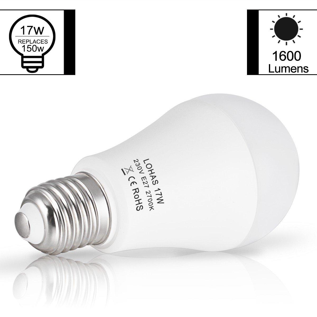LOHAS 17Watt LED E27 Bombillas, Equivalente a 150Watt Lámpara Incandescente, Blanco Cálido 2700K, 1600 lúmenes, 180°ángulo de haz, no regulable, ...