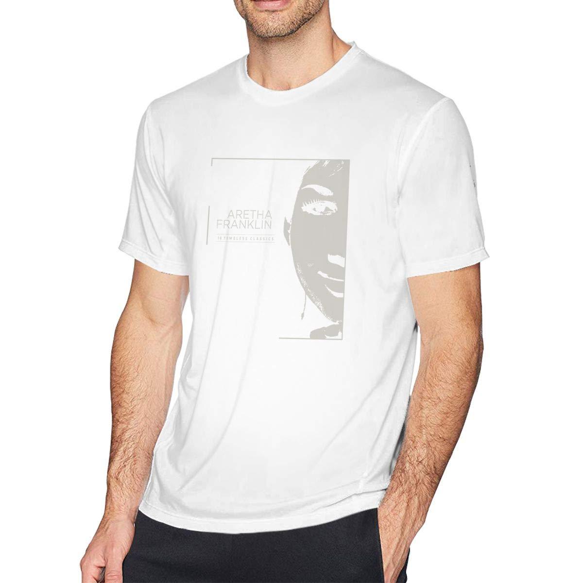 FengYuqi Aretha Franklin Man Classic Short Sleeve T-Shirt Athletic Cool Running T-Shirt Black