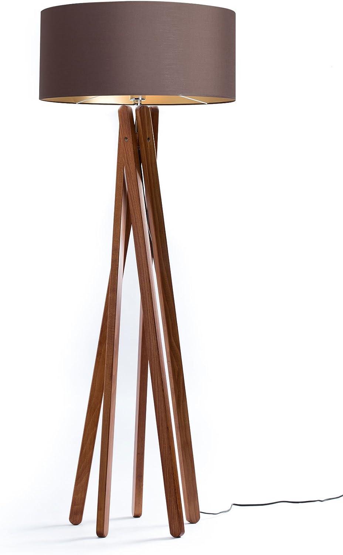 Hochwertige Holz Stativ Stehlampe In Nussbaumfarben Skandinavisches Design Lampenschirm Aus Stoff Braun Gold H 160 Cm Dreibein Lampe Fur Wohnzimmer Handgefertigte Stehleuchte Led Geeignet Amazon De Beleuchtung