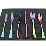 Uniturcky Flatware Set 18/10 Stainless Steel Mirror Polished Rainbow Colorful Cutlery - Silverware Utensil Set of Serrated Steak Knife Dinner Fork Knife Salad Fork Dessert Spoon,6 Piece Service for 1