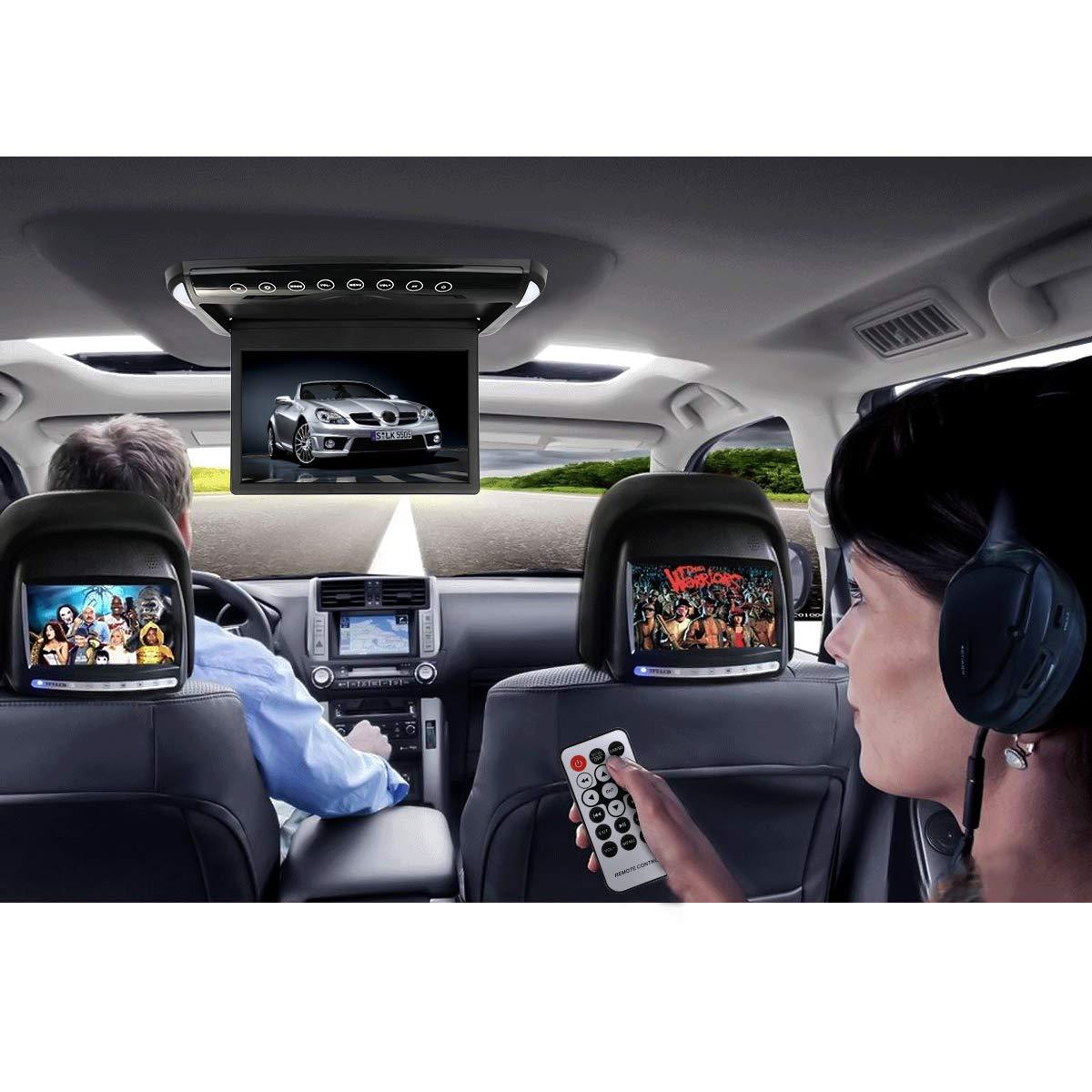 Moniteur mont/é sur le toit de la voiture MiCarBa 1080P HD ultra mince 10,1 pouces IPS /Écran Moniteur multim/édia rabattable avec FM SD USB CL1008BL