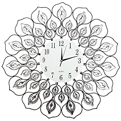 """Lulu Décor, Lotus Wall Clock 23"""" Metal frame, 9"""" White glass Dial with Arabic Numbers Decorative Metal Clock for Living Room, Bedroom, Office Space"""