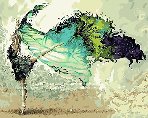 YEESAM ART Paint by Numbers for Adults Kids, Ballerina, Ballet Dancer Green Abstract Girl 16x20 Inch Linen Canvas Acrylic DIY Number Painting Kits Wall Art Decor Gifts (Framed)