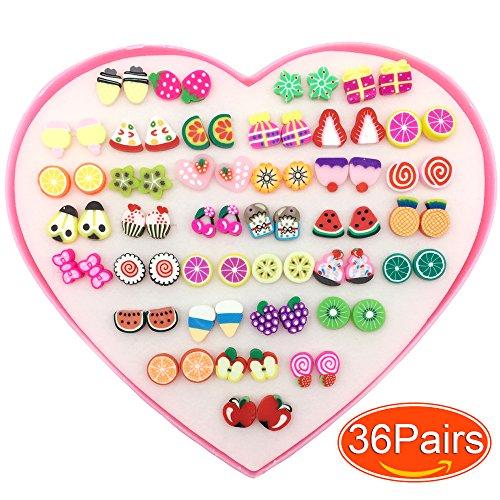 Elesa Miracle Kids Little Girl 36 Pairs Hypoallergenic Fimo Stud Earrings Value Set