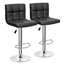 Furmax Black Leather Bar Stools Counter Height Modern Adjustable Synthetic Leather Swivel Bar Stool,Set of 2 (Black)